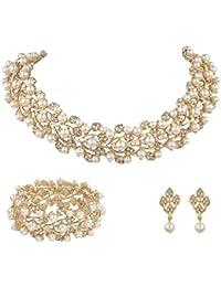 Austrian Crystal Bridal Cream Simulated Pearl Leaf Jewelry Set Clear