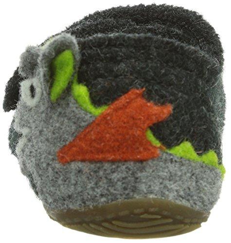 Living Kitzbühel Klettslipper Drache - pantuflas de lana niño gris - Grau (600 anthra)
