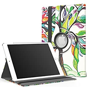 MoKo iPad Air 2 Case - 360 Degree Rotating Cover Case for Apple iPad Air 2 (iPad 6) 9.7 Inch iOS 8 Tablet, Lucky TREE (with Auto Wake / Sleep, Not Fit iPad Air 2013 Released Tablet)