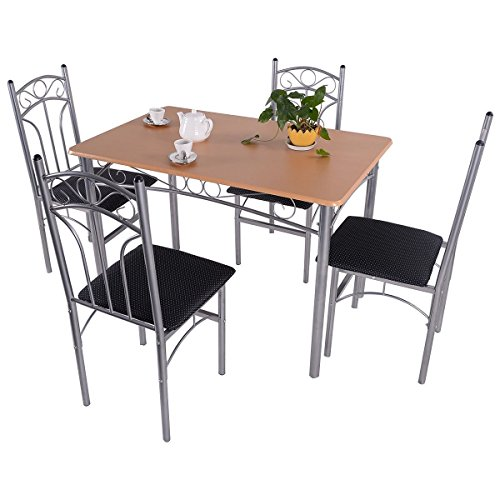 MasterPanel - 5PCS Wood And Metal Dining Set Table and 4 Chairs Home Kitchen Modern Furniture #TP3242