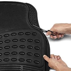 OxGord Universal Fit Front/Rear 4-Piece Full Set Ridged Heavy Duty Rubber Floor Mat - (Black)