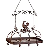 rooster pot rack - Smart Living Company 10012657 Pans Hanging Country Rooster Iron Antique Pot Rack with Hooks, None, Multi Colour