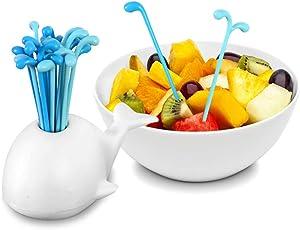 Hoocozi 64 PCS Fruit Toothpicks Plastic Cute Fruit Food Fork Kitchen Whale Fork Cocktail Picks Party Table Decoration Supplies 4 Set