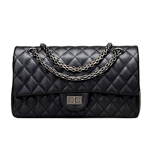 Sheli Branded Classic Medium Black Quilted Soft Lampskin Leather Shoulder Crossbody Handbag for Woman