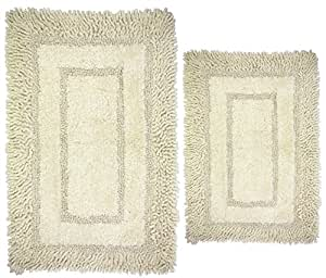 Family Home Hotel Collection Frame Shagg Ultra Soft 100 Chenille Cotton Bath Rug