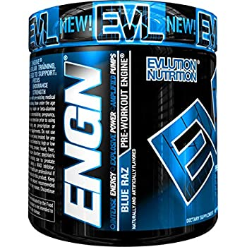 Evlution Nutrition ENGN Pre-Workout, 30 Servings, Intense Pre-Workout Powder for Increased Energy, Power, and Focus (Blue Raz) Pikatropin-Free