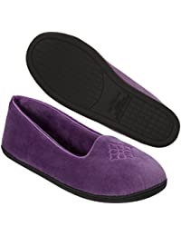Women's Microfiber Velour Closed Back Slipper