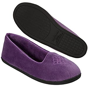 Dearfoams Women's Rebecca Microfiber Velour Closed Back Slipper,Smokey Purple,M