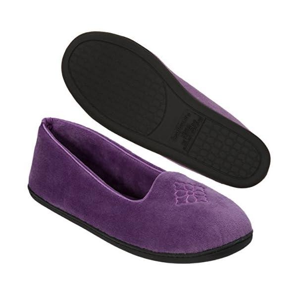 Dearfoams Women's Rebecca Microfiber Velour Closed Back Slipper,Smokey Purple,M