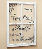 cottage chic decor LOVE STORY White Wooden Window Pane Frame Sentiment Decor Shabby Chic Cottage Wall Hanging Inspirational Home Accent Plaque Decoration