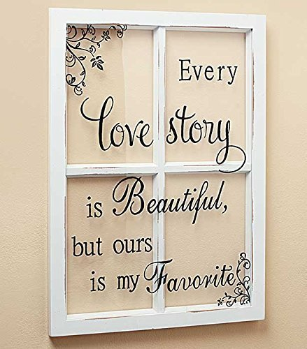 LOVE STORY White Wooden Window Pane Frame Sentiment Decor Shabby Chic Cottage Wall Hanging Inspirational Home Accent Plaque Decoration - Country Cottage Decor