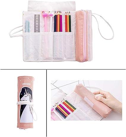 Estuche enrollable de lona de gran capacidad con diseño de unicornio rosa, para niñas, mujeres, material escolar: Amazon.es: Oficina y papelería
