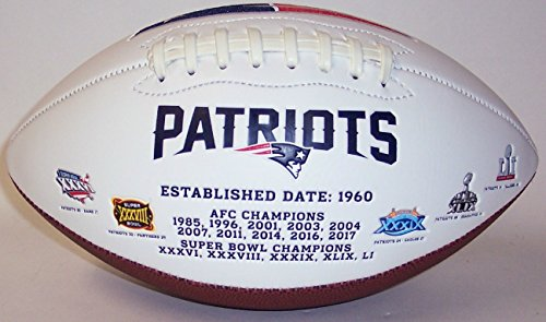 New England Patriots Memorabilia - New England Patriots Embroidered Logo Signature Series Full Size Football - with Super Bowl 51 LI logo and final score