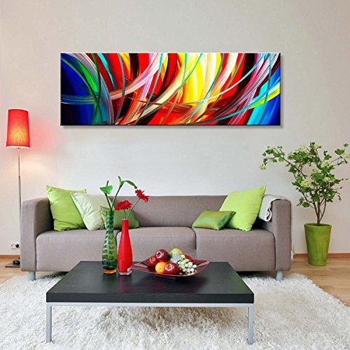 Abstract Wall Art Acrylic Painting on Canvas Hand Painted Modern Picture for Home Decoration (Framed 60''W x 20''H) by Seekland Art (Image #2)