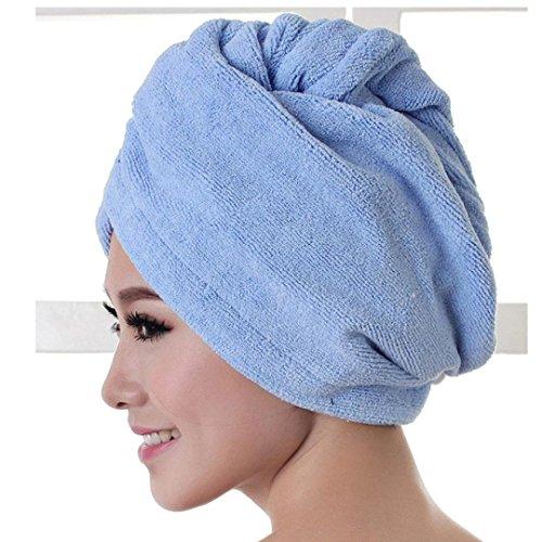 Iuhan Women Microfiber Bath Towel Hair Dry Hat Cap Quick Drying Lady Bath Tool (Blue)