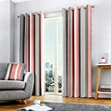 Fusion - Whitworth Stripe - 100% Cotton Lined Eyelet Curtains - 90' Width x 90' Drop (229 x 229cm) in Blush