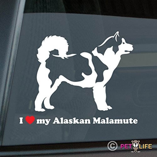 I Love My Alaskan Malamute Sticker Vinyl Auto Window mally Mister Petlife PD-0401