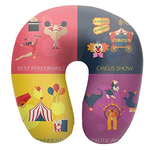 Airplane Pillow U-Shaped Travel Neck Pillow Comfortable Flight for Train, Car, Video Watching, Napping, Reading, Circus Performance Entertainment Animals