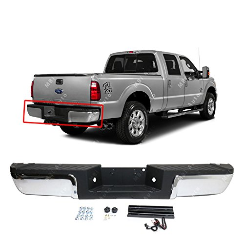 (MBI AUTO - Chrome, Steel Complete Rear Bumper Assembly for 2013-2016 Ford Super Duty F250 F350 Pickup W/Out Park 13-16, FO1103176)