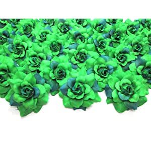 "(100) Silk Two Tone Dark Green Roses Flower Head - 1.75"" - Artificial Flowers Heads Fabric Floral Supplies Wholesale Lot for Wedding Flowers Accessories Make Bridal Hair Clips Headbands Dress 16"