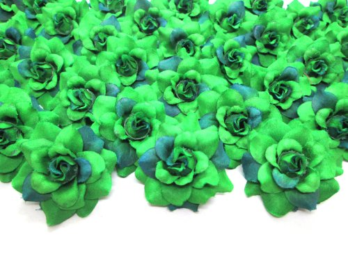 (100) Silk Two Tone Dark Green Roses Flower Head - 1.75 - Artificial Flowers Heads Fabric Floral Supplies Wholesale Lot for Wedding Flowers Accessories Make Bridal Hair Clips Headbands Dress
