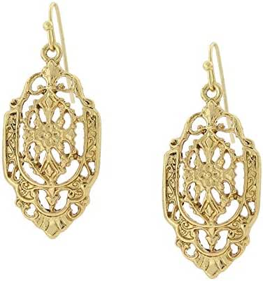 Gold-Tone Vintage Inspired Filigree Drop Earrings