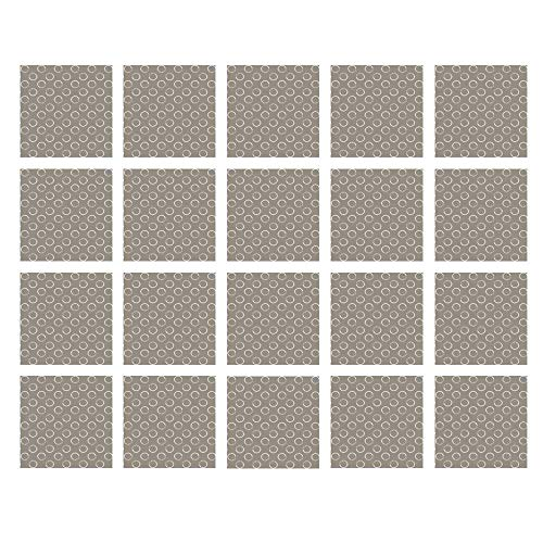 YOLIYANA Taupe Waterproof Ceramic Tile Stickers,Simple Artistic Pattern Ring Shapes Grungy Display with Brushstrokes Vintage Style for Kitchen Living Room,One Size