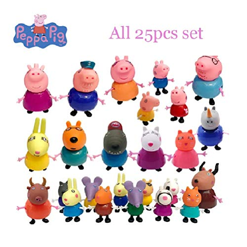24pcs/set pe-PPA-Pig George Guinea Pig Family Pack Dad Mom Action Figure Original Pelucia Anime Toys for Kids Toys -