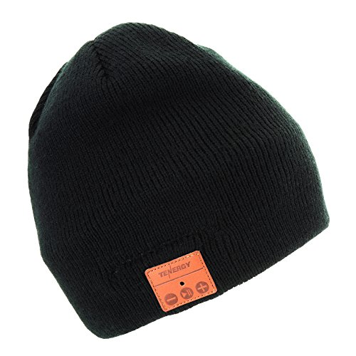 Fleece Walking Hat - Tenergy Wireless Bluetooth Beanie Hat with Detachable Stereo Speakers & Microphone, Fleece-lined Unisex Music Beanie for Outdoor Sports, Basic Knit (Black)