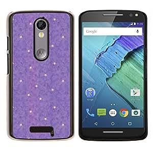 EJOOY---Cubierta de la caja de protección para la piel dura ** Motorola Moto X3 3rd Generation ** --amarillo púrpura del lunar abstracta estrellas