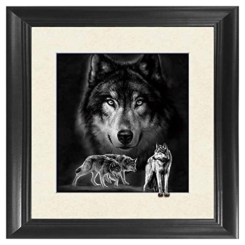 Wolf 5D / 3D Poster Wall Art Decor Framed Print   18.5x18.5   Lenticular Posters & Pictures   Memorabilia Gifts for Guys & Girls Bedroom   Forest Wildlife & Hunting Animal Picture for Home Decorations ()