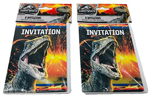Jurassic World Fallen Kingdom Birthday Party Invitations with Envelopes, 16ct ()