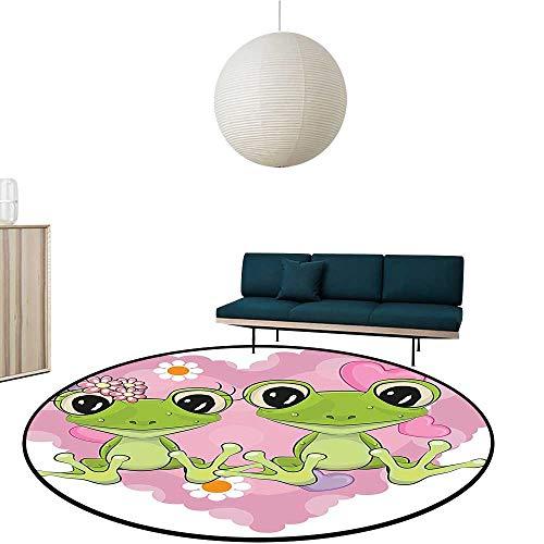 Simple Modern Carpet Frogs He in Love Happin Flowers Waterproof Circular Rug ()