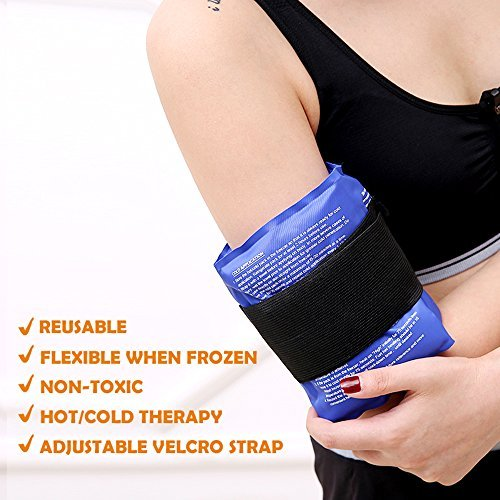 Ice Pack for Injuries, Ohuhu Reusable Gel Cold & Hot Therapy Pack with Strap for Shoulder Knee Ankle Back Neck Elbow Waist Arm Calves Hip Pain Relief
