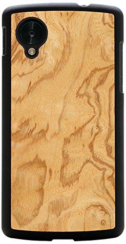 CARVED Matte Black Wood Case for Google Nexus 5 - Olive Ash Burl (N5-BC1D)