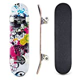 Lelly Q Complete Skateboard - 31'' x 8'' Inches,8 Layer Maple Wood Tricks Skate Board for Beginner,Birthday Gift for Extreme Sports and Outdoors (Charming City)
