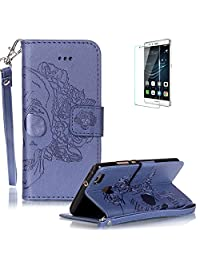 Huawei P9 Lite Case [with Free Screen Protector] Funyye Solid color Stylish Lanyard Strap Scratch Resistant Premium Magnetic Detachable PU Leather Wallet Style Cover with [Credit Card Holder Slots] Full Body protection Ultra Thin Protective Case Cover for Huawei P9 Lite -Skull Flower Blue