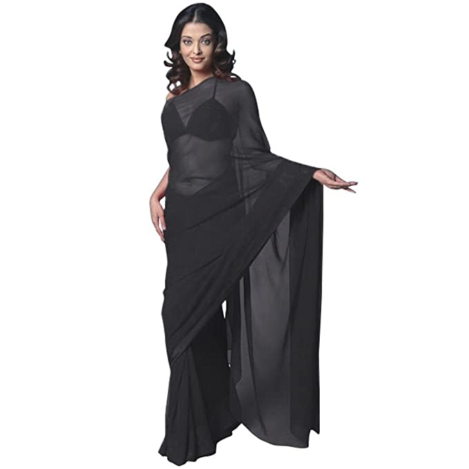 ddd0ba265cef16 Chiffon Bollywood BellyDance Indian Saree Sari - Black  Amazon.ca ...