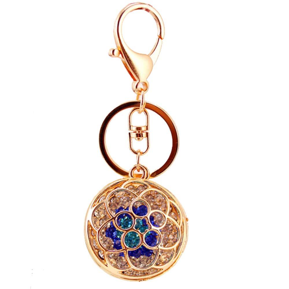 Kissweet Cute Rhinestone Flower Keychains Colorful Diamond Rose Car Key Ring Round Holder for Women Girls Bag Backpack Christmas Gift (Blue)