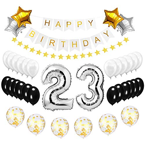 Best Happy to 23rd Birthday Balloons Set - High Quality Birthday Theme Decorations for 23 Years Old Party Supplies Silver Black Gold]()
