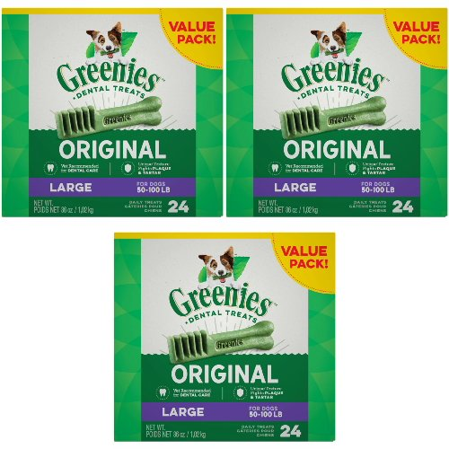 [그리니즈] Greenies 72 Count 108-Ounce Dental Chews, Large [덴탈 치석 관리]