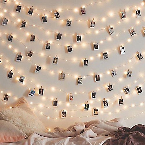 Led Photo Clip String Lights Indoor String Lights Seasonal Lighting Outdoor String Lights for Hanging Photos, Cards, Memos Home/Halloween/Birthday/Party Decorations Battery Powered White (30 Lights) ()