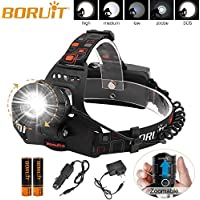 Boruit IPX4 Waterproof USB LED Zoomable Headlamp Flashlight with Batteries