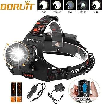 Boruit IPX4 Waterproof USB LED Zoomable Headlamp Flashlight