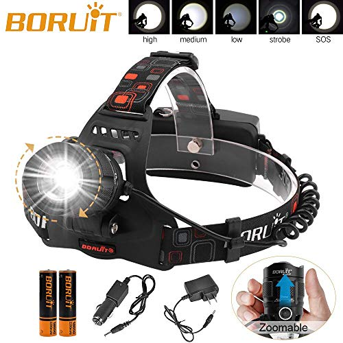 Boruit LED Zoomable Headlamp Flashlight,5 Modes High Lumen IPX4 Waterproof USB Headlamp with Batteries for Camping, Hiking, Reading, Cycling, Hunting, Running