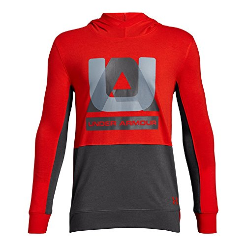 Under Armour Boys sportstyle Hoodie, Radio Red (892)/Charcoal, Youth Medium