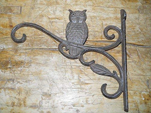 Cast Iron HOOT OWL Garden Plant Hook Rustic BROWN Finish Hooter,Heavy Duty Metal Decorative,Coat Hook,Hat Hook-Wall Mounted,Wall Hook,Coat Hanger,Single Hooks for Bath,Kitchen,Garage from New