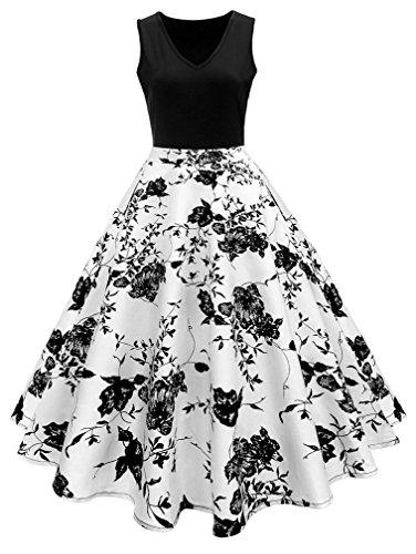 Vanbuy Women's V Neck Sleeveless Floral Print Vintage Rockabilly Swing Party Plus Size Dress Z167-Floral-5XL