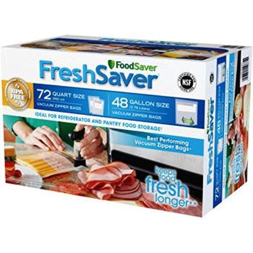 FoodSaver FreshSaver Zipper Bag Combo Pack 72 Quart-Size and 48 Gallon-Size