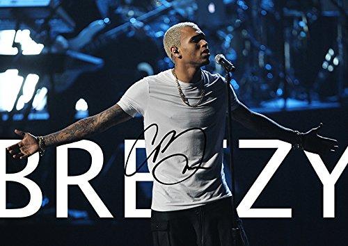 Iconic Images (11.7 X 8.3) Chris Brown Breezy Signed R&B Poster Print (Pre-Print Autograph)